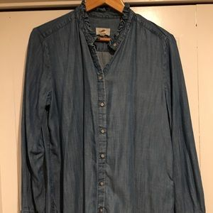 Loft Denim ruffled collar button down size L